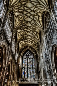 ENGLAND, BRISTOL - 20 APRIL 2015: St Mary Redcliffe Bristol, English Gothic architecture church, stained glass and ceiling HDR