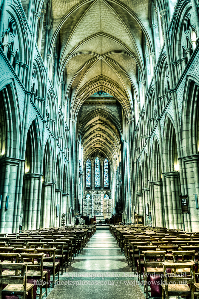 Truro Cathedral Nave, Victorian architecture, HDR photography