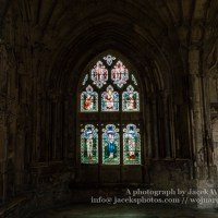 Gloucester Cathedral inside - stained glass Cloisers