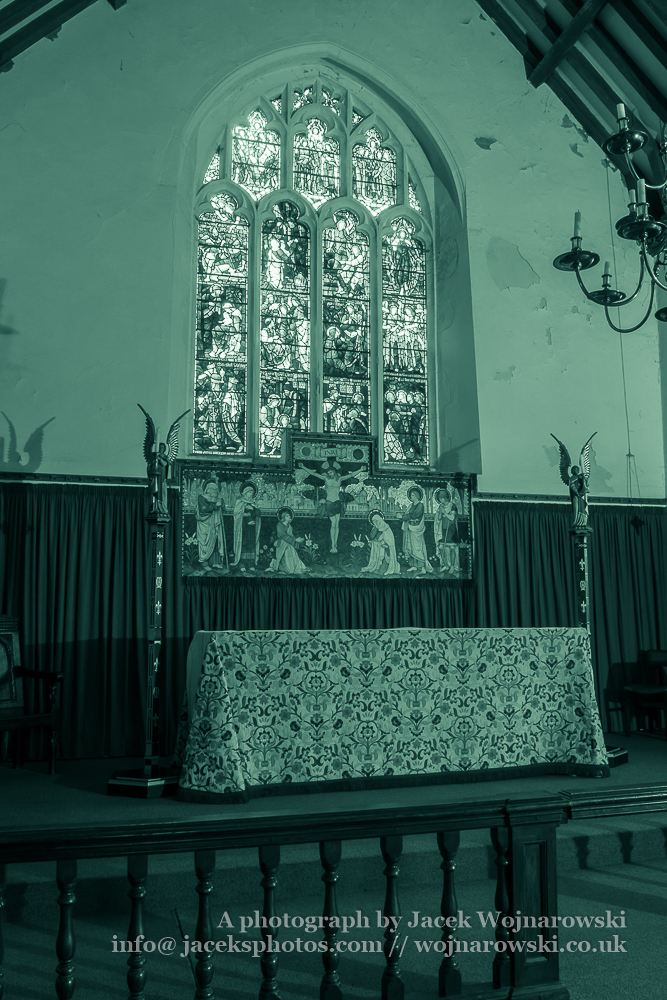 Church of St. Michael Altar, The Parish of Minehead, black and white photography split toning