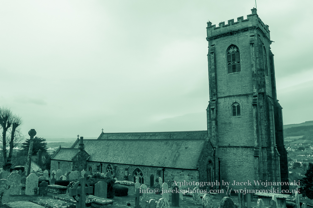 Church of St. Michael, The Parish of Minehead, black and white photography split toning