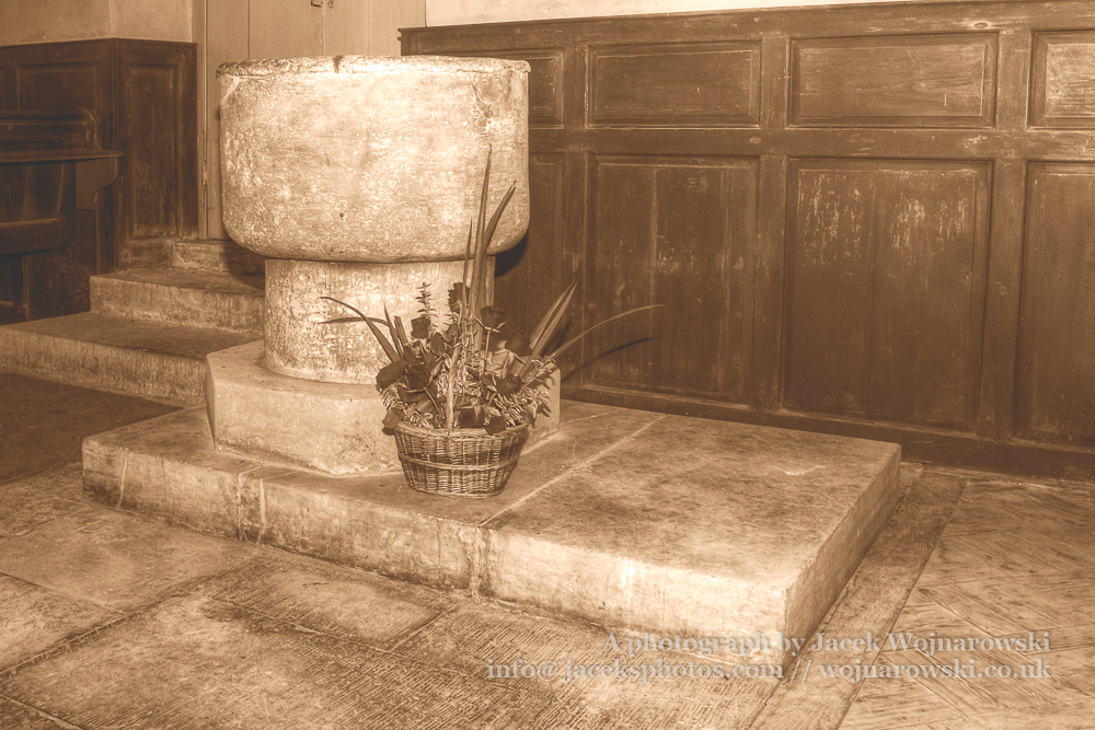 Font of The Blessed Virgin Mary in Somerset HDR sepia tone, England is medieval in origin but underwent extensive renovation in the 18th century