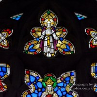 Stained Glass in Exeter Cathedral, West Window Tracery Light Close up A