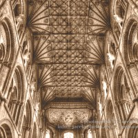 Peterborough Cathedral Ceiling Nave HDR Sepia Tone