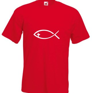 Fish With Cross Red T-shirt