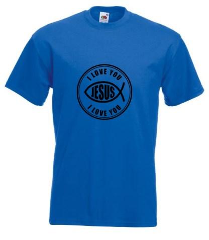 I Love You Jesus Blue T-shirt