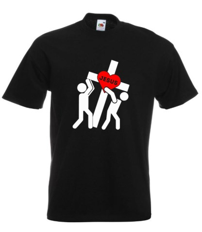 Jesus Carrying Cross Black Tee
