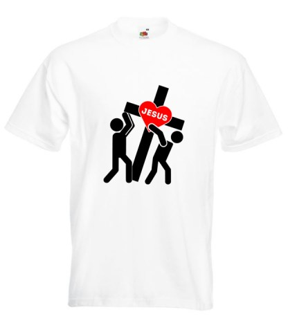 Jesus Carrying Cross White Tee