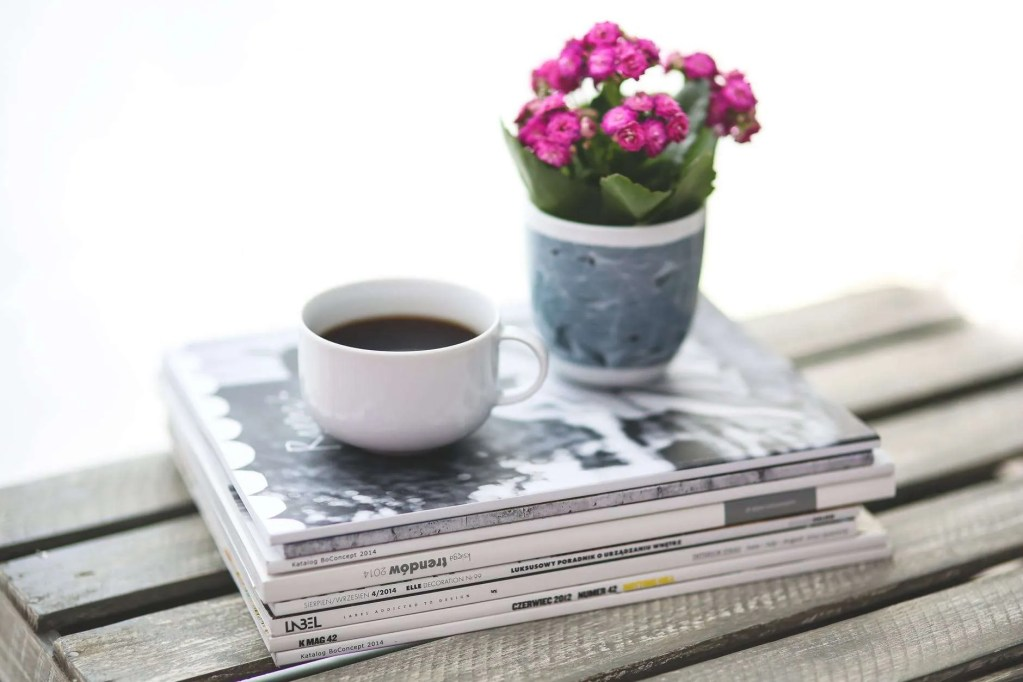 Cup of tea with magazines and flower pot