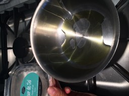 A little olive oil in the pan