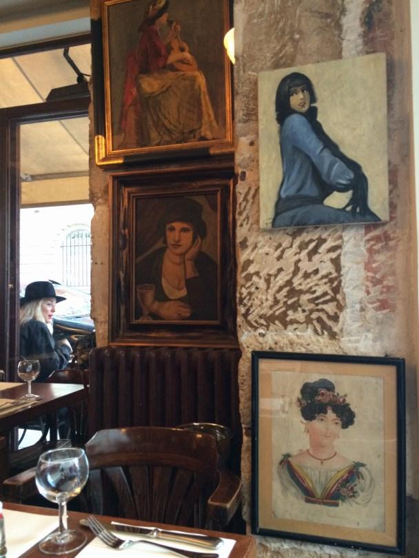 Random paintings adorn the walls...