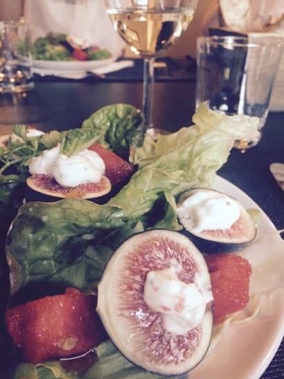 Watermelon salad with stuffed figs