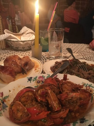 Lobster, chicken and ropa vieja at Atelier, Havana.