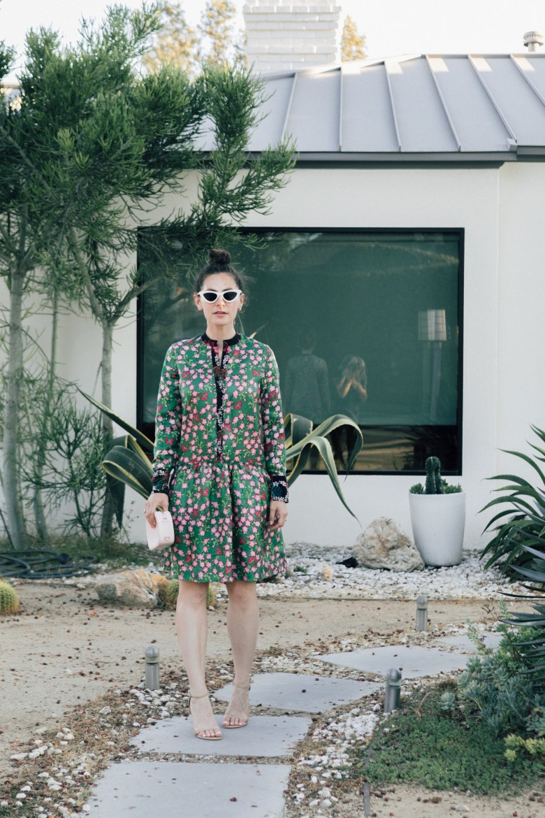 Los Angeles blogger, RELish By Arielle, wears a silk Sandro Paris green floral dress