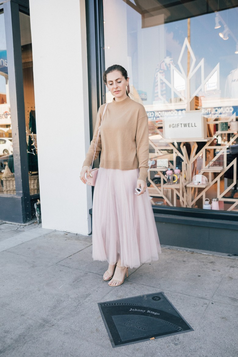 LA blogger, RELish By Arielle, wears a blush tulle skirt