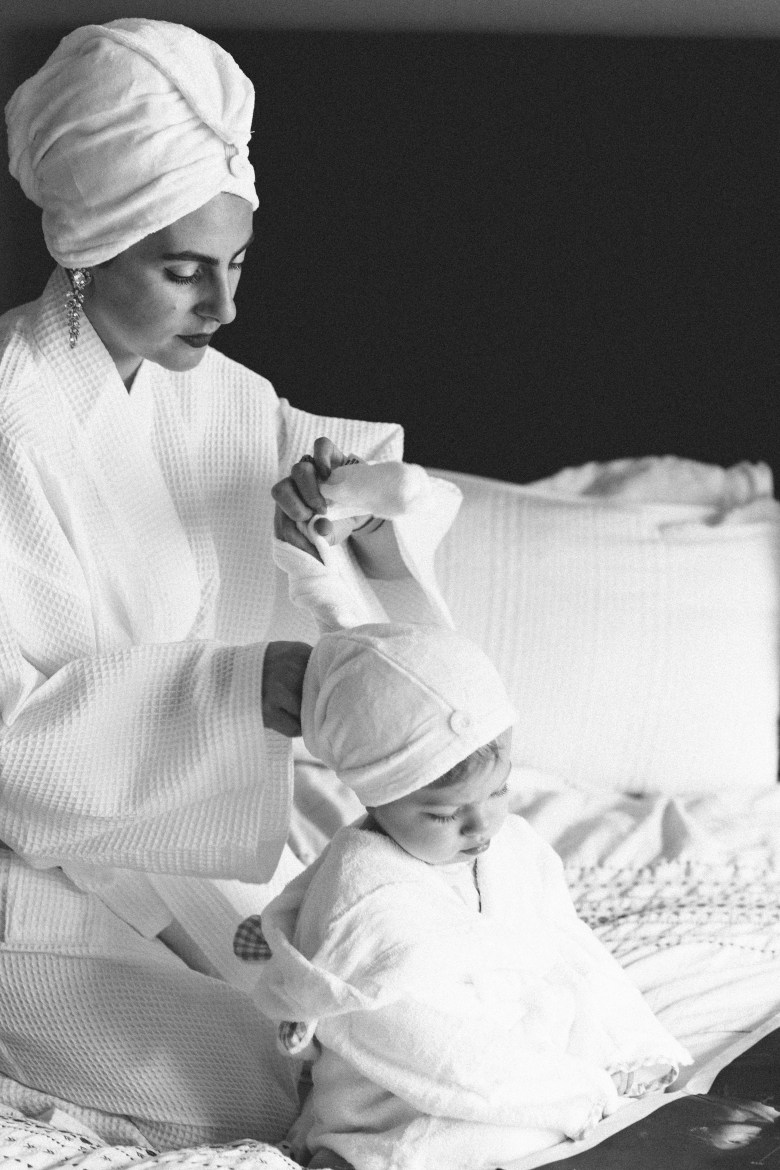 LA mommy blogger, RELish By Arielle celebrates Valentine's Day with her daughter in bathrobes having a girl's day