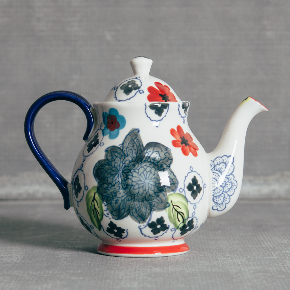 Decoration Jardin Pot Jardin Floral Handpainted Flower Design Tea Pot Relish Decor
