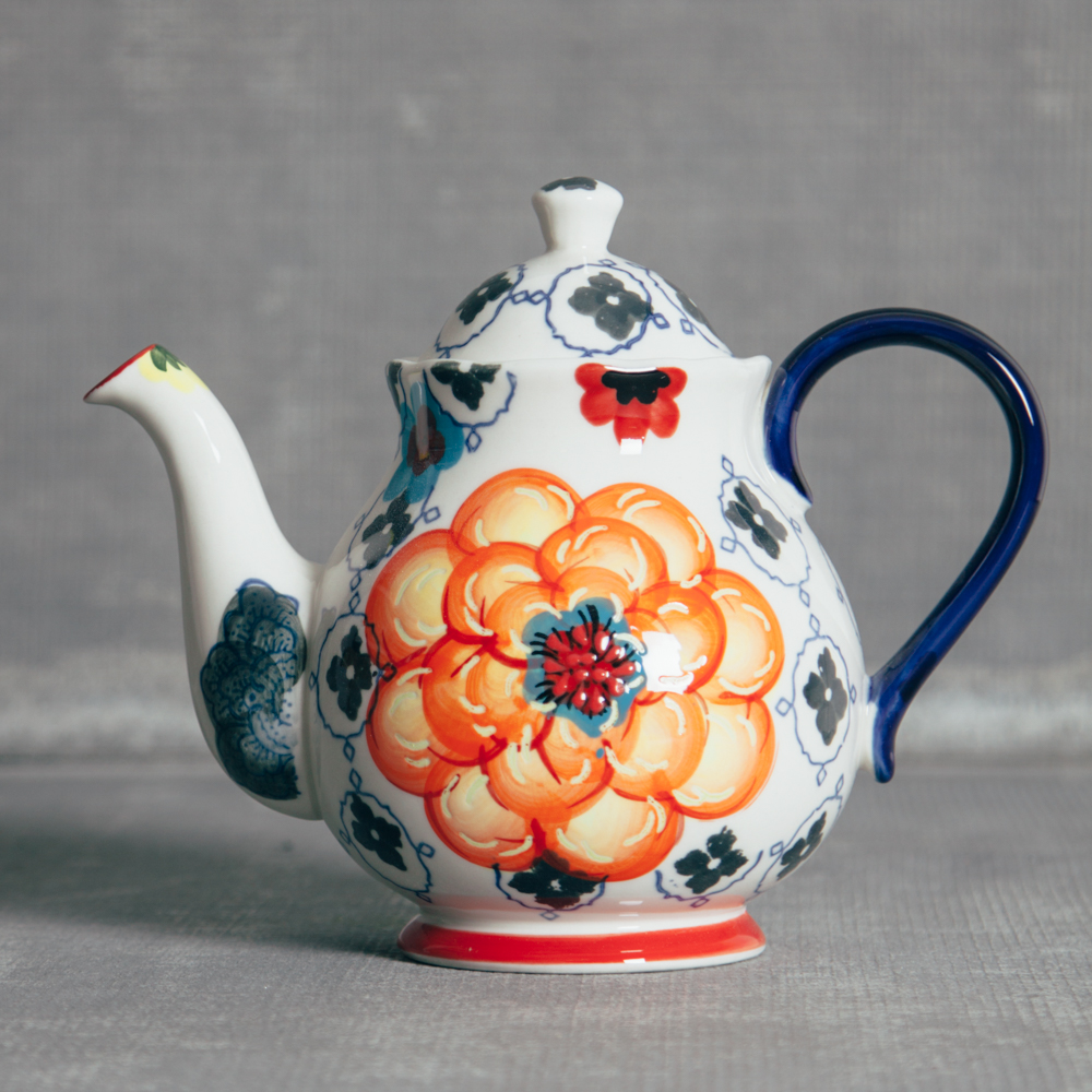 Decoration Jardin Pot Jardin Floral Handpainted Flower Tea Pot Relish Decor Relish Decor