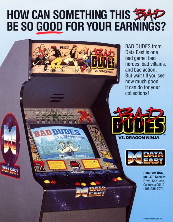 Bad Dudes Dragon Ninja cabinet