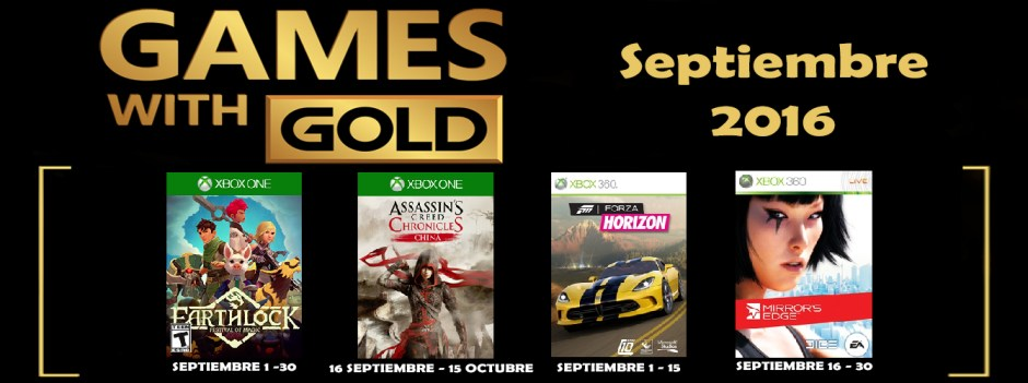 Games With Gold Septiembre 2016 banner