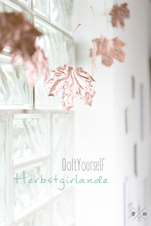 Herbstdeko Blättergirlande in kupfer DIY | relleomein.de