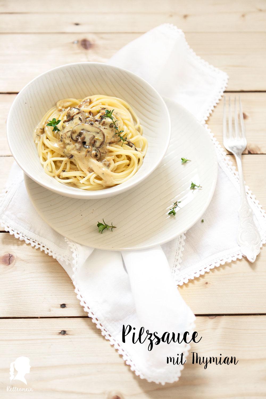 Spaghetti mit Pilzsoße und Thymian - vegetarisches Rezept - schnelles Abendessen | relleomein.de