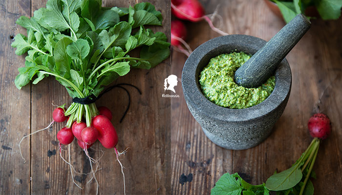 Radieschengrün - Pesto aus Radieschenblätter - Radieschen Rezept | relleomein.de #radieschen #vegan #einkochen