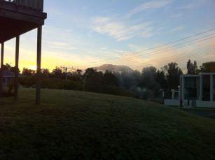 Taupo am frühen morgen, Dampf aus dem heißem Fluss