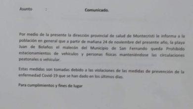 Photo of Provincial de Salud Montecristi, prohíbe circulación y estacionamiento de personas en la playa Juan de Bolaño