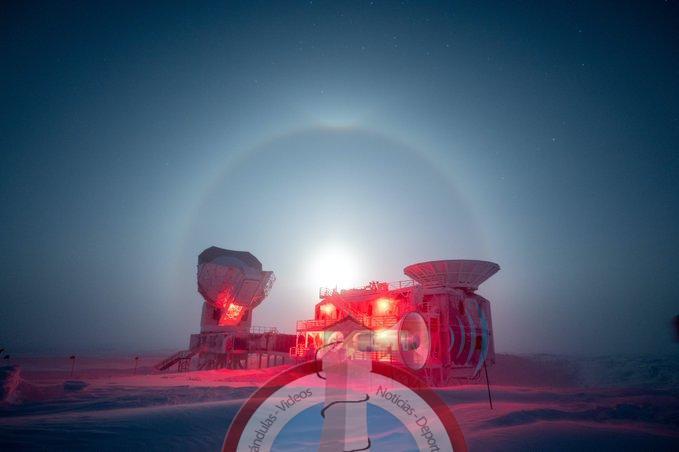 Photo of Fotógrafo capta un raro fenómeno en la Antártida con la Luna rodeada por un espectacular halo