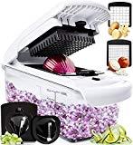 Fullstar Vegetable Chopper - Spiralizer Vegetable Slicer - Onion Chopper with Container - Pro Food Chopper - Tricer Dicer Slicer - 4 Blades