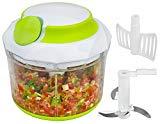 QuickPull Food Chopper: picadora / picadora / batidora / batidora / batidora manual grande y potente para picar frutas, verduras, nueces, hierbas, cebollas para salsa, ensalada, pesto, ensalada de col, puré de papas