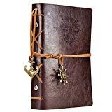 Cuaderno de diario de cuero, EvZ 7 pulgadas Espiral vintage Cadena espiral náutica Bloc de notas Cuaderno de bocetos Escritura de viaje, Papel sin forro, Colgantes retro, Clásico en relieve, Café