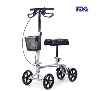 """Rodillo Scooter con rodillera CO-Z giratoria con cesta, ruedas de goma antideslizantes de 8 """""""