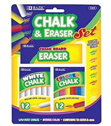 BAZIC 12 colores y 12 tizas blancas con borrador para la escuela