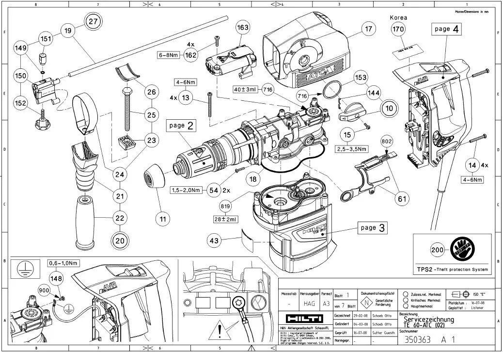 Hilti Te 12s Parts List