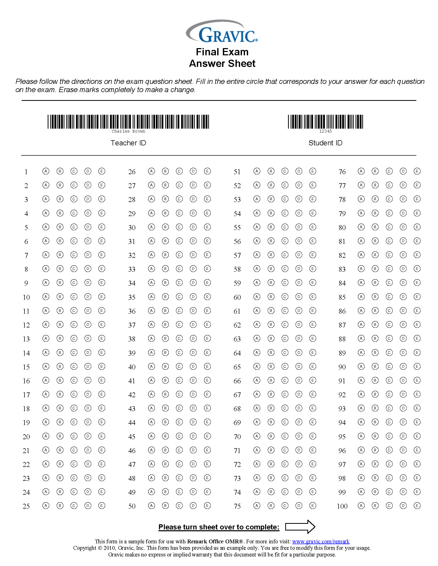 200 Question Answer Sheet With Extra Credit And Barcode
