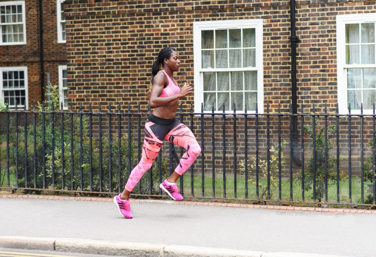Christine Ohuruogu running pink kit