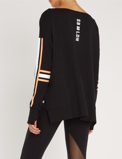 Sweaty Betty - Simhasana Slogan Sweatshirt - Black Cotton - back view