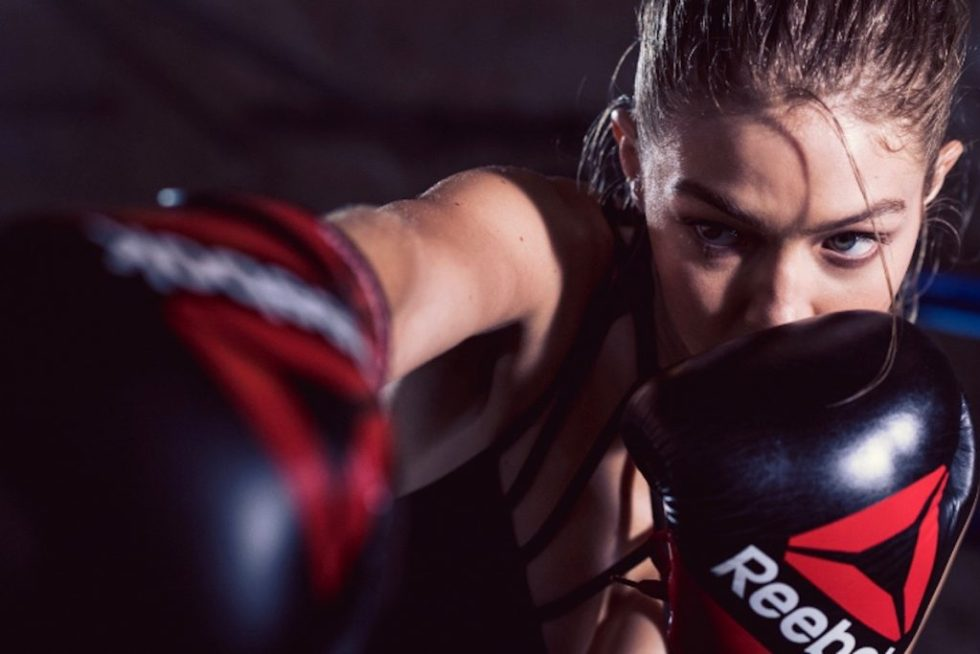 Gigi Hadid boxing for Reebok - Reebok Voucher Codes Banner