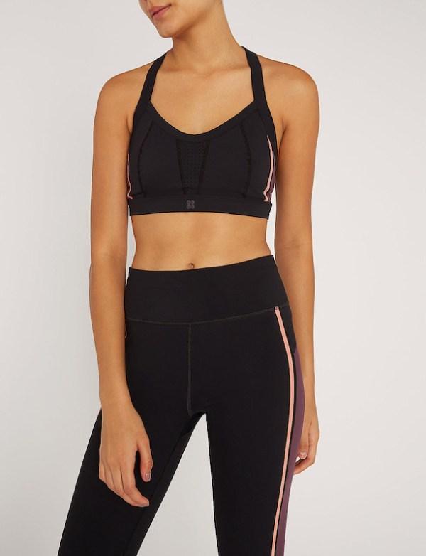 Sweaty Betty - Upbeat Padded Workout Bra - Size Small - Black - Front