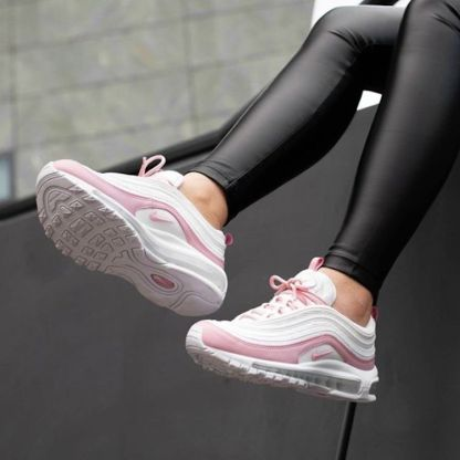 Nike Air Max 97 Essential Shoes - white pink - on feet