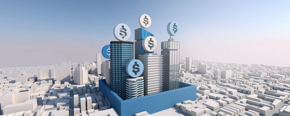 Make money with property and real estate investment, 3d rendering