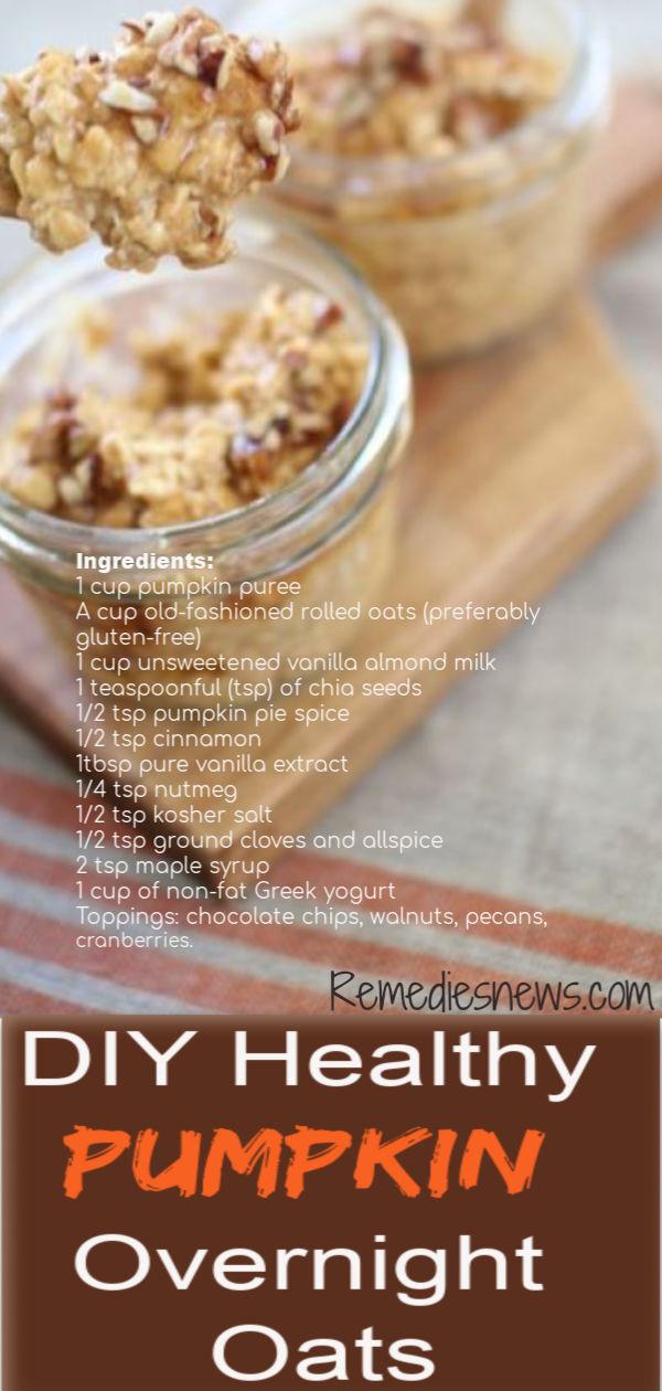 Easy Healthy Pumpkin Overnight Oats.Try Easy Pumpkin pie overnight oats skinnytaste.1/2 tsp pumpkin pie spice. 1 teaspoonful (tsp) of chia seeds. cup of non-fat Greek yogurt