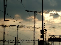 A sedge of cranes at Zürich station