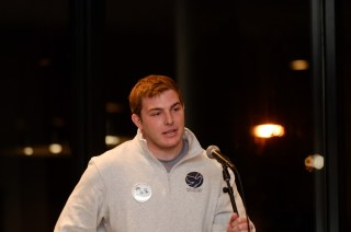 """Cameron MacPherson at the""""Celebration of Life,"""" held on October 29, 2015, during Syracuse University's Remembrance week."""