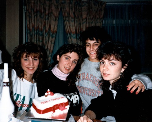 Karen Hunt (right), with roommates. December, 1988