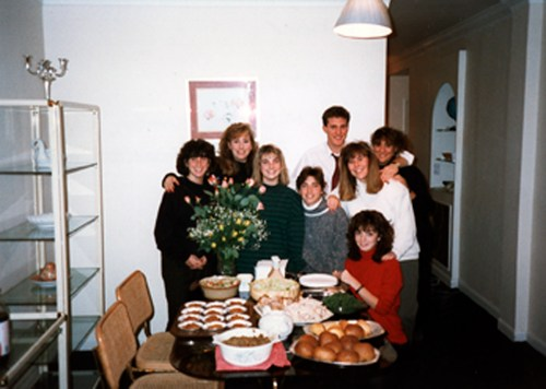 Karen Hunt with fellow students, fall, 1988