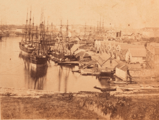 Looking south from Dawes Point past ships at Campbell's wharf to Circular Quay, 1857?