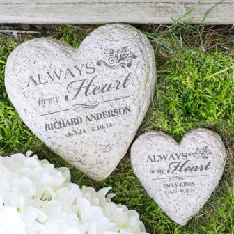 Engraved In Loving Memory Heart Memorial Garden Stone Memorial